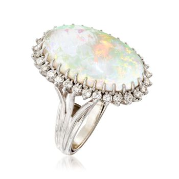 C. 1970 Vintage Opal and 1.00 ct. t.w. Diamond Ring in 14kt White Gold. Size 5.5, , default