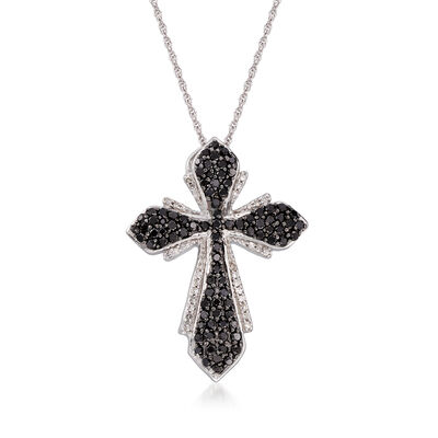 1.00 ct. t.w. Black and White Diamond Cross Pendant Necklace in Sterling Silver, , default