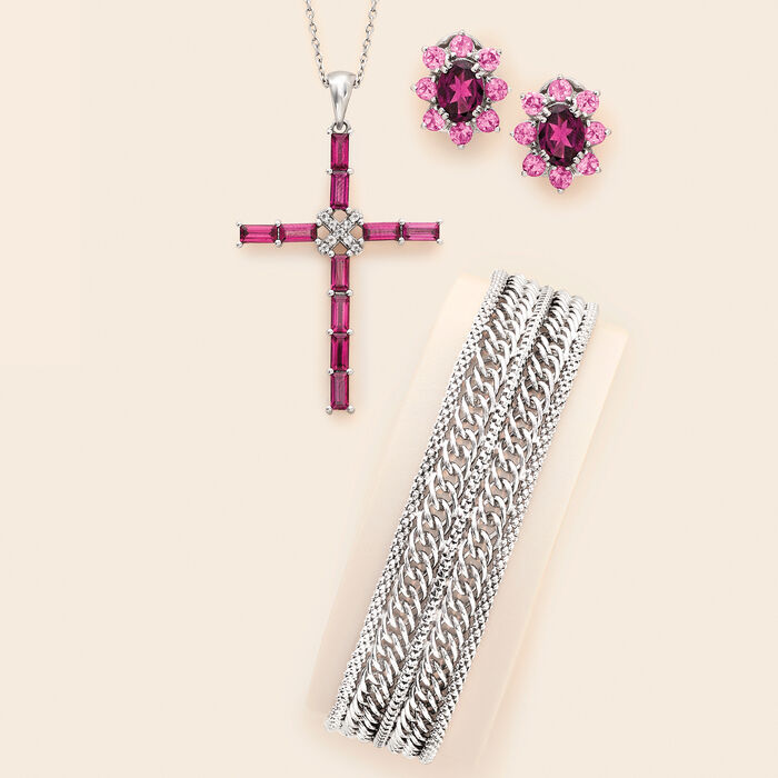 3.20 ct. t.w. Rhodolite Garnet and .10 ct. t.w. White Topaz Cross Pendant Necklace in Sterling Silver