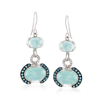 Blue Chalcedony and 1.00 ct. t.w. Blue Topaz Earrings With White Zircons in Sterling Silver, , default