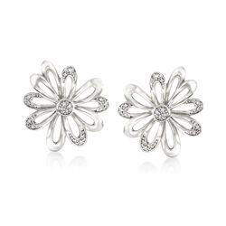 .10 ct. t.w. Diamond Flower Earrings in Sterling Silver , , default