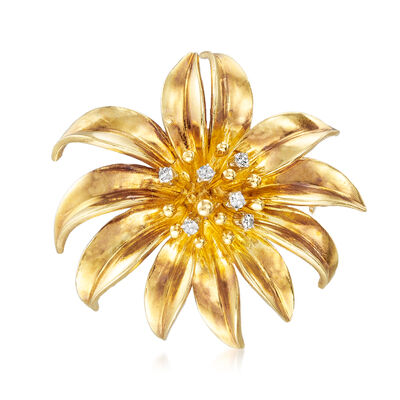 C. 1970 Vintage Tiffany Jewelry .15 ct. t.w. Diamond Flower Pin in 18kt Yellow Gold, , default