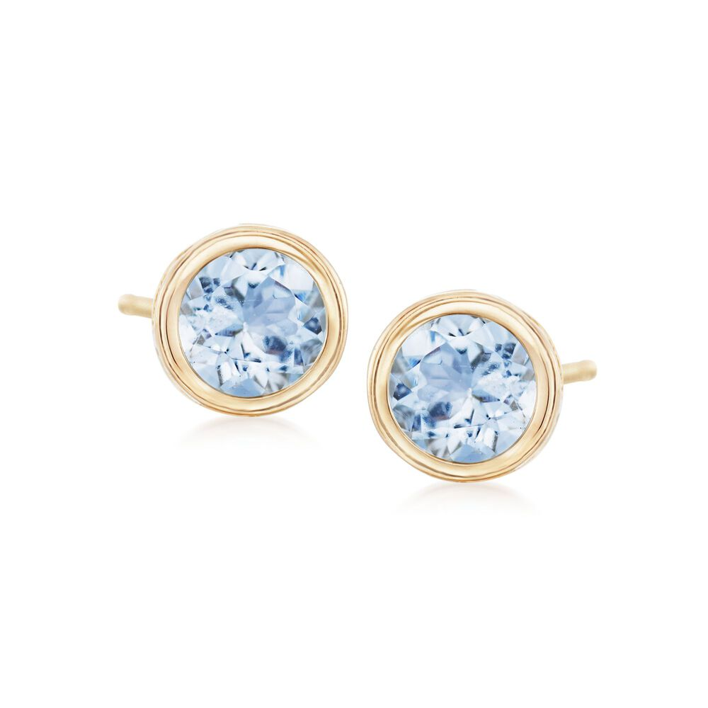 0681195bad357 1.00 ct. t.w. Bezel-Set Aquamarine Stud Earrings in 14kt Yellow Gold ...