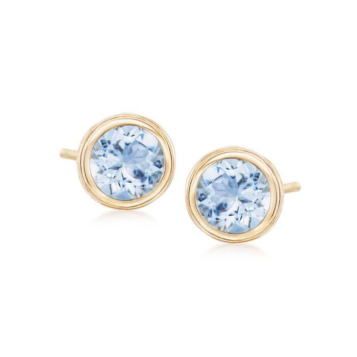 1.00 ct. t.w. Bezel-Set Aquamarine Stud Earrings in 14kt Yellow Gold, , default