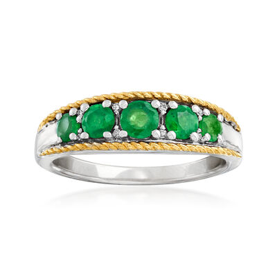 .60 ct. t.w. Emerald Five-Stone Ring with Diamond Accents in Sterling Silver and 14kt Yellow Gold, , default
