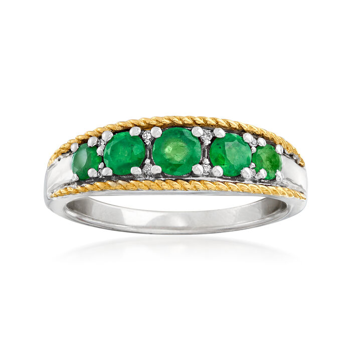 .60 ct. t.w. Emerald Five-Stone Ring with Diamond Accents in Sterling Silver and 14kt Yellow Gold