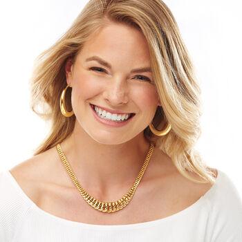"Italian 18kt Yellow Gold Graduated Hoop Earrings. 1 3/4"", , default"