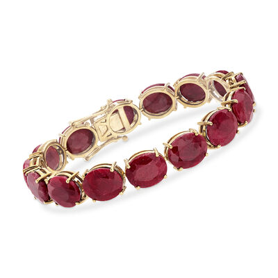 75.00 ct. t.w. Ruby Tennis Bracelet in 14kt Gold Over Sterling, , default