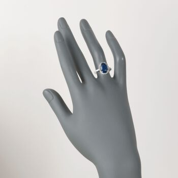 C. 1980 Vintage 3.30 Carat Sapphire and .75 ct. t.w. Diamond Ring in Platinum. Size 6