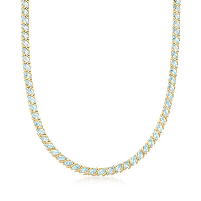 19.11 ct. t.w. Sky Blue Topaz Tennis Necklace in 18kt Gold Over Sterling