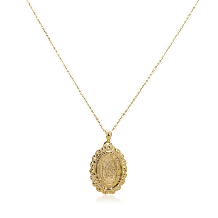 """14kt Yellow Gold Framed Christopher Medal Pendant Necklace. 18"""", , default"""