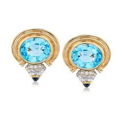 C. 1980 Vintage 26.00 ct. t.w. Blue Topaz and 1.50 ct. t.w. Sapphire Clip-On Earrings With Diamonds in 14kt Yellow Gold, , default