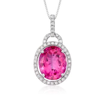 "6.25 Carat Pink Topaz Pendant Necklace With Diamonds in 14kt White Gold. 18"", , default"