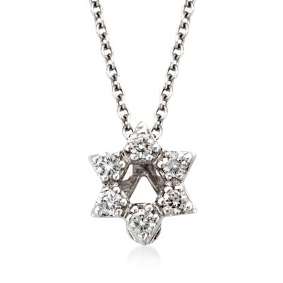 "Roberto Coin ""Tiny Treasures"" Diamond Accent Star of David Necklace in 18kt White Gold"