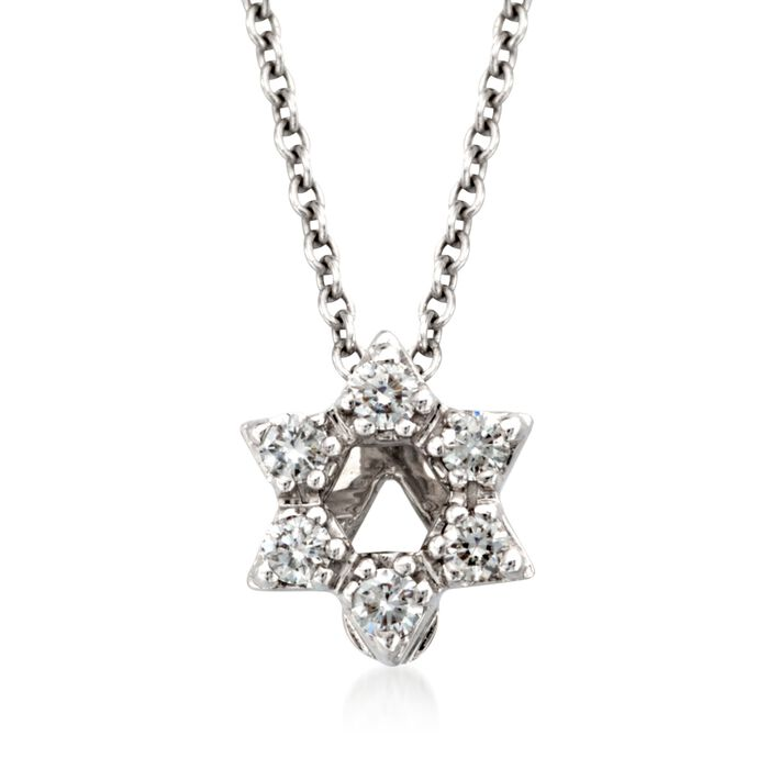 """Roberto Coin """"Tiny Treasures"""" Diamond Accent Star of David Necklace in 18kt White Gold"""