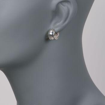 """Zina Sterling Silver """"Sahara"""" Hammered Hoop Earrings. 1/2"""", , default"""