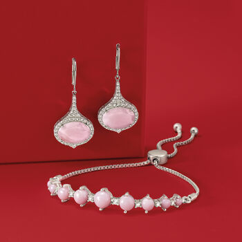 Pink Opal and .30 ct. t.w. White Topaz Bolo Bracelet in Sterling Silver , , default