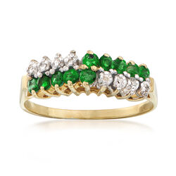 C. 1970 Vintage .50 ct. t.w. Emerald and Diamond Ring in 14kt Yellow Gold, , default