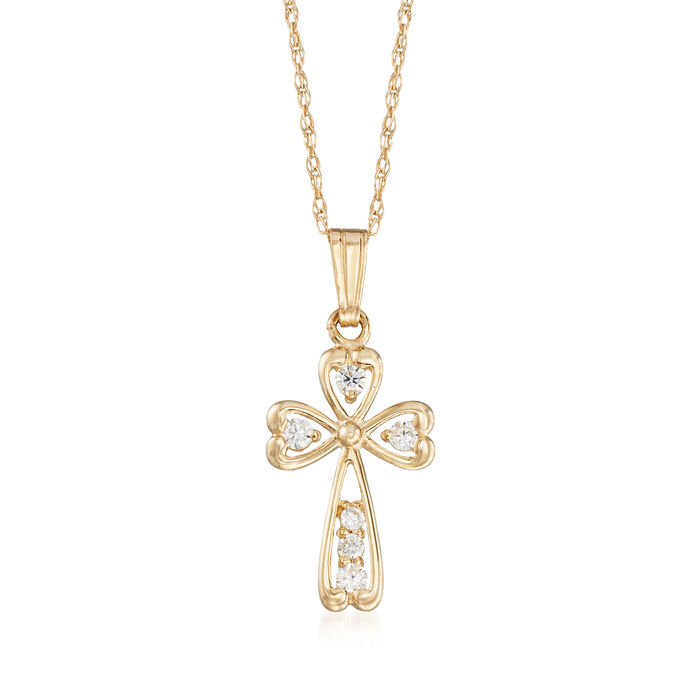 "Child's .18 ct. t.w. CZ Cross Pendant Necklace in 14kt Yellow Gold. 15"", , default"