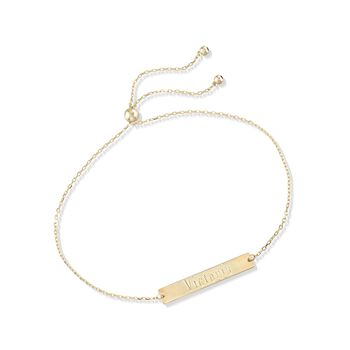 14kt Yellow Gold Name Bar ID Bolo Bracelet, , default