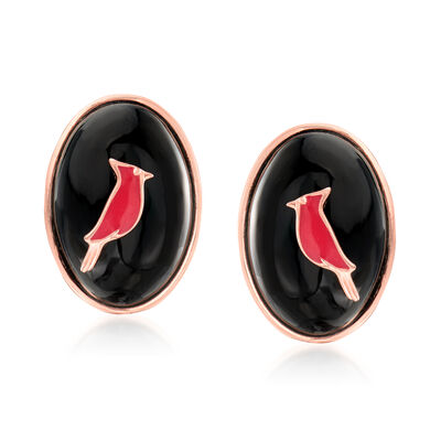 Black Agate and Red Enamel Cardinal Earrings in Two-Tone Sterling Silver