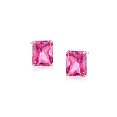 10.00 ct. t.w. Pink Topaz Stud Earrings in 14kt White Gold, , default