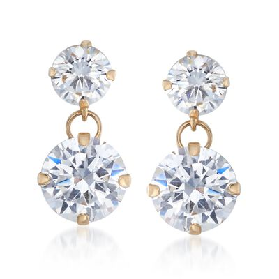 3.50 ct. t.w. CZ Double Drop Earrings in 14kt Yellow Gold, , default