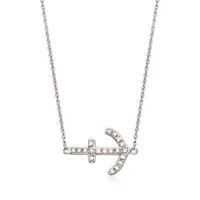 .15 ct. t.w. Diamond Sideways Anchor Necklace in Sterling Silver, , default