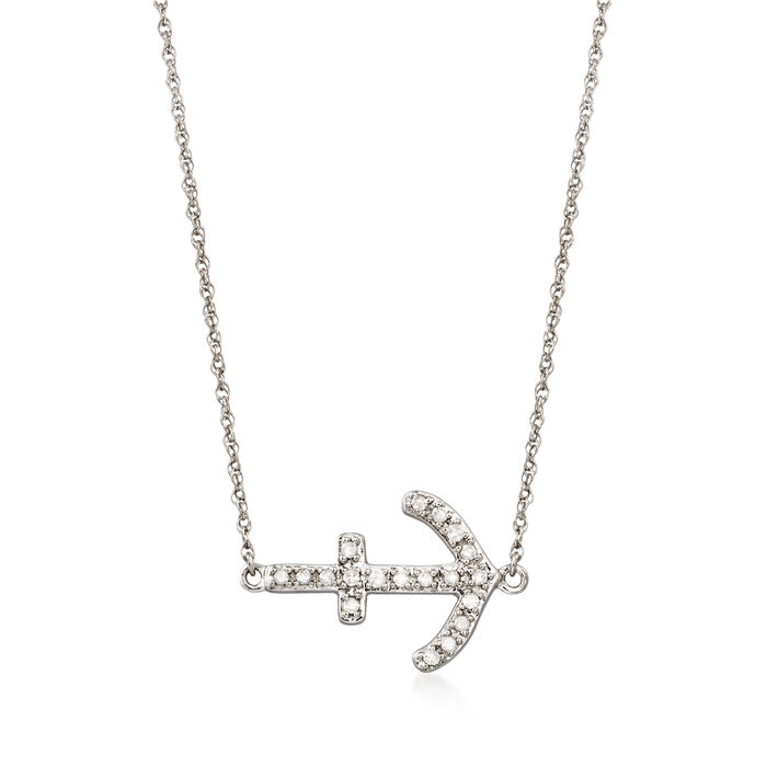 .15 ct. t.w. Diamond Sideways Anchor Necklace in Sterling Silver