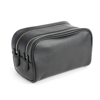 Royce Black Leather Double-Zip Toiletry Bag, , default