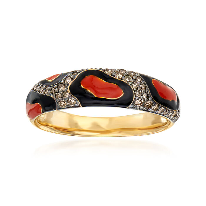 .20 ct. t.w. Brown Diamond Animal-Print Ring with Enamel in 18kt Gold Over Sterling