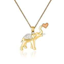 "14kt Two-Tone Gold Elephant Pendant Necklace. 18"", , default"
