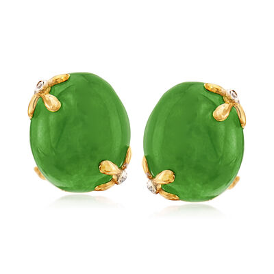 Green Jade Earrings with White Topaz Accents in 18kt Gold Over Sterling