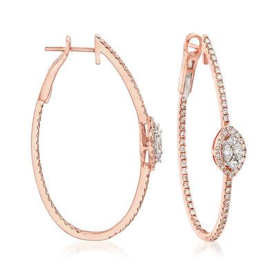 1.46 ct. t.w. Diamond Inside-Outside Hoop Earrings in 14kt Rose Gold, , default