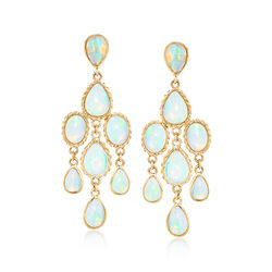 Ethiopian Opal Chandelier Earrings in 14kt Yellow Gold , , default