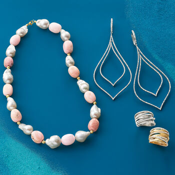 12-14mm Cultured Baroque Pearl and Pink Opal Bead Necklace with 14kt Yellow Gold
