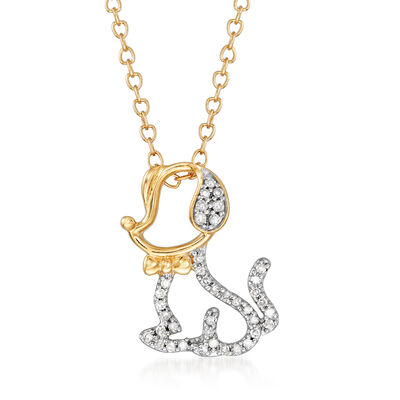 .10 ct. t.w. Diamond Cut-Out Dog Necklace in 14kt Yellow Gold