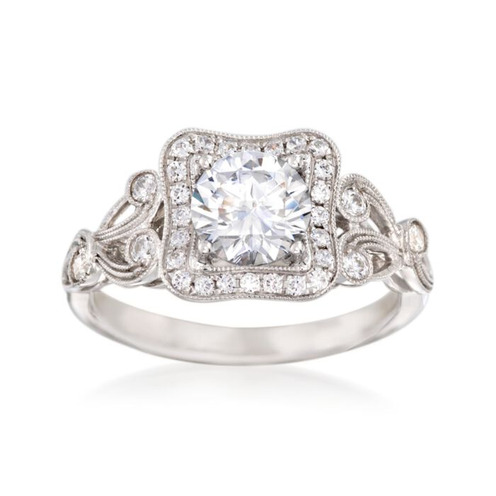Simon G. .30 ct. t.w. Diamond Scroll Engagement Ring Setting in 18kt White Gold