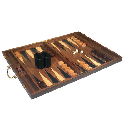 Inlaid Wood Backgammon Set with Carrying Handle