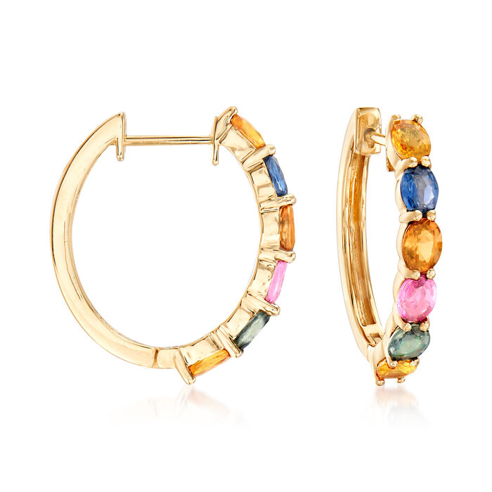 "4.80 ct. t.w. Multicolored Sapphire Hoop Earrings in 14kt Yellow Gold. 7/8"", , default"