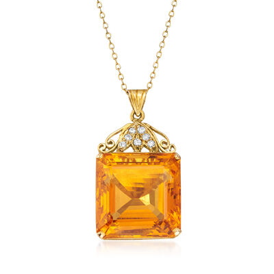 C. 1950 Vintage 29.50 Carat Citrine and .18 ct. t.w. Diamond Pendant Necklace in 10kt and 14kt Yellow Gold, , default