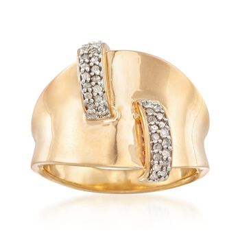 .15 ct. t.w. Diamond Curved Bars Ring in Two-Tone Sterling Silver, , default