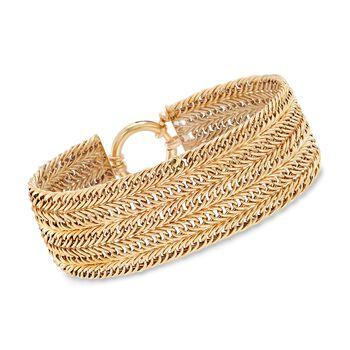 14kt Yellow Gold Multi-Row Curb-Link Bracelet, , default