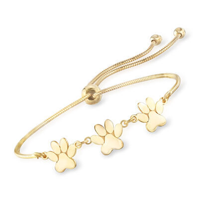 18kt Gold Over Sterling Silver Tiny Paws Bolo Bracelet, , default