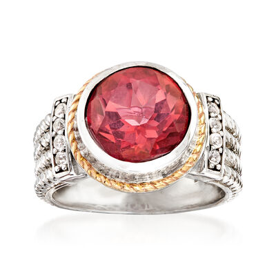 3.60 Carat Pink Quartz and .10 ct. t.w. White Topaz Two-Tone Ring, , default