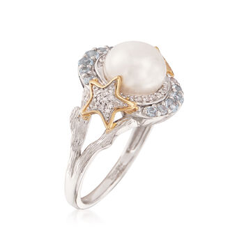 8-8.5mm Cultured Pearl Star Ring With Blue Topaz and Diamonds in Two-Tone Sterling Silver, , default