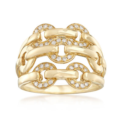 .20 ct. t.w. Diamond Open-Space Circle-Link Ring in 14kt Yellow Gold, , default