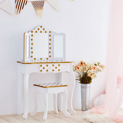 Child's White and Pink Polka Dot Gisele Vanity Table and Stool Set with Mirror , , default