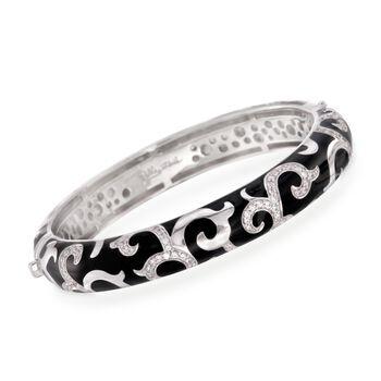 "Belle Etoile ""Royale"" 2.50 ct. t.w. CZ Bangle Bracelet With Enamel in Sterling Silver. 7"", , default"