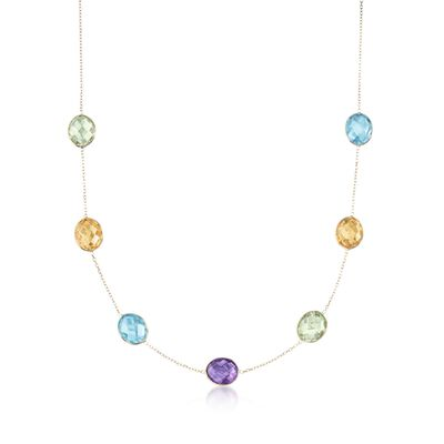 32.50 ct. t.w. Multi-Stone Station Necklace in 14kt Yellow Gold, , default